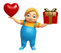 Kid boy with Heart & Giftbox Royalty Free Stock Photo
