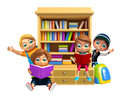 Kid boy and Kid girl with book shelves School bag Royalty Free Stock Photo