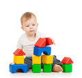 Kid boy playing with construction set toy Royalty Free Stock Images