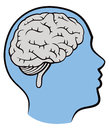 Kid brain logo a icon image of a child s head profile and a inside Stock Image