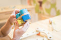 Kid building an education cart wooden toy block Royalty Free Stock Photo