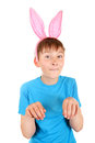 Kid with bunny ears isolated on the white background Royalty Free Stock Photo
