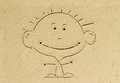 Kid cartoon on sand beach drawing happy in the Royalty Free Stock Photos