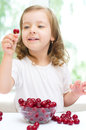 Kid with cherry berries Royalty Free Stock Photo