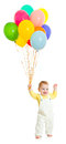 Kid or child with balloons bunch Stock Photos