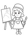 Kid Coloring Page Royalty Free Stock Photo