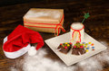 Kid dessert of christmas sweed chocolate for a dinner fancy food Stock Photo