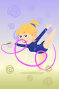 Kid doing gymnastics dance a vector illustration of a beautiful girl with ribbon Stock Photos