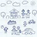 Kid drawing happy family on paper page Royalty Free Stock Photos