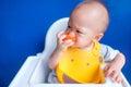 Kid eat tomato Royalty Free Stock Photo