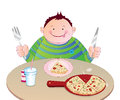 Kid eating Pizza Stock Photo