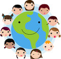 Kid Faces United Around Earth Glove Stock Photography