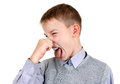 Kid feel a stink displeased isolated on the white background Royalty Free Stock Image
