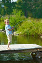 Kid fishing Royalty Free Stock Image