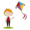 Kid flying kite icon Royalty Free Stock Photo