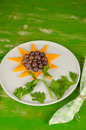 Kid fruit dessert served shaped as a sunflower a desser Royalty Free Stock Photo