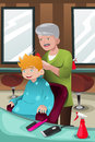 Kid getting a haircut vector illustration of at barber shop Royalty Free Stock Image
