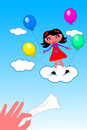 Kid girl ascending to heaven illustration featuring little cute rising flying by mean of colored balloons while hand with Royalty Free Stock Photography
