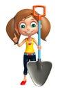 Kid girl with Digging shovel Royalty Free Stock Photo
