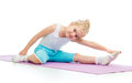 Kid girl doing fitness exercises child Royalty Free Stock Photo