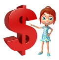 Kid girl with dollar sign Royalty Free Stock Photo