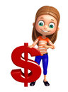 Kid girl with doller sign d rendered illustration of Royalty Free Stock Photography