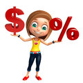 Kid girl with doller sign and percentage sign d rendered illustration of dollar Royalty Free Stock Photos