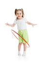 Kid girl having fun with hoop isolated child Royalty Free Stock Image