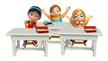 Kid girl and kid boy with Table chair and books Royalty Free Stock Photo