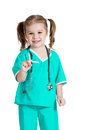 Kid girl playing doctor isolated on white Stock Photos