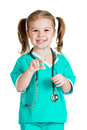 Kid girl playing doctor with syringe isolated on white Royalty Free Stock Photos