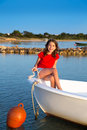 Kid girl pretending to be sailor in boat bow at formentera a balearic islands Stock Photography