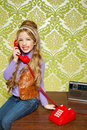 Kid girl retro talking busybody in red telephone Stock Images