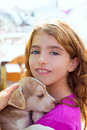Kid girl smiling puppy dog and teeth braces happy Royalty Free Stock Photography