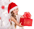 Kid giving Christmas gift box. Stock Photography