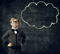 Kid in Glasses Think Bubble over Blackboard, Child Boy Thinking Royalty Free Stock Photo
