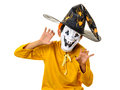 Kid halloween outfit mask claws hands scary child boy with scary expression like isolated on white Royalty Free Stock Photography