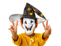 Kid halloween outfit mask victory sign scary child boy with expression hands up isolated on white Royalty Free Stock Photos