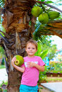 Kid harvests the young coconuts in tropical garden cute Royalty Free Stock Photography