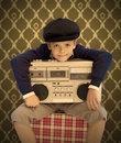 Kid with his cassette player Royalty Free Stock Image
