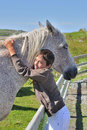 Kid and his horse Stock Photography