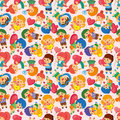 Kid hug heart seamless pattern Stock Image