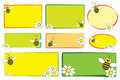 Kid labels - Bee and daisies Royalty Free Stock Photography