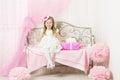 Kid Little Girl Portrait Child, Pink Present Gift Box Royalty Free Stock Photo