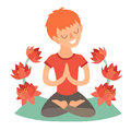 Kid in the lotus position on the mat for yoga. Isolated illustration on the white background Royalty Free Stock Photo