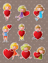 Kid love stickers Stock Photos