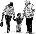 Kid mother and grandfather vector drawing of the family on a walk Royalty Free Stock Photo