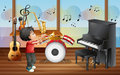 A kid with musical instruments illustration of Stock Photos