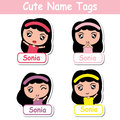 Kid name tags vector cartoon with cute colorful girls suitable for children name tags Royalty Free Stock Photo