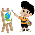 Kid painting a picture.